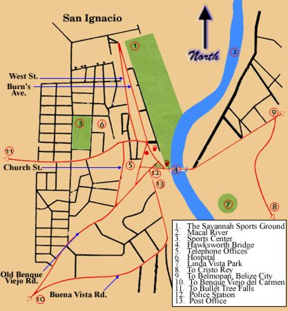 San Ignacio Map with key points
